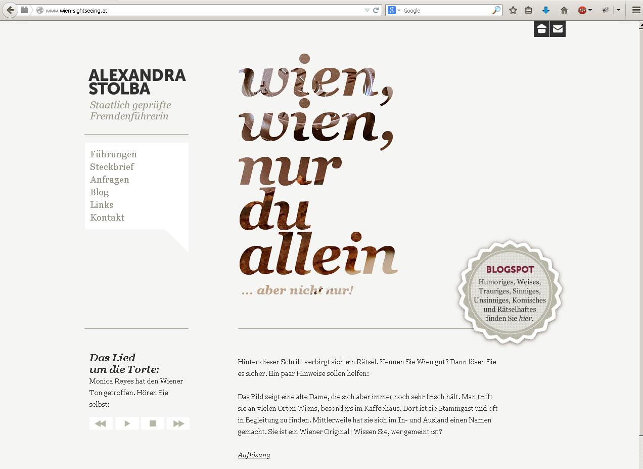 Webdesign für Fremdenführerin (für Grafikstudio Gilani)