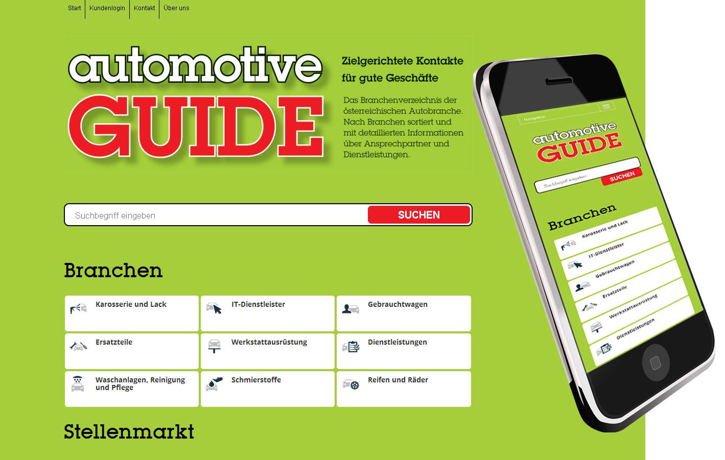 Webkatalog für Automotve Guide